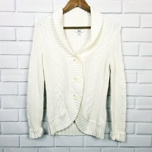Bass White Chunky Button Up Cable Knit Cardigan S